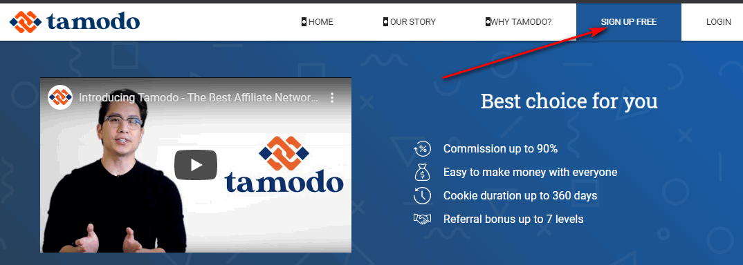 Click vào nút signup trên Tamodo.com