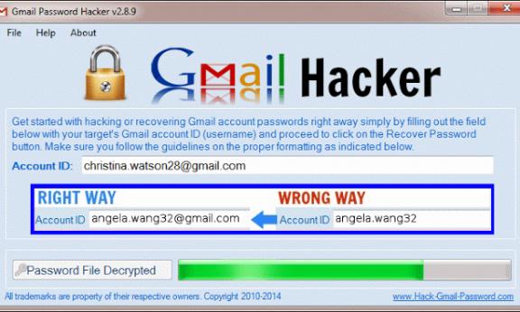 Háck mật khẩu Gmail, Yahoo